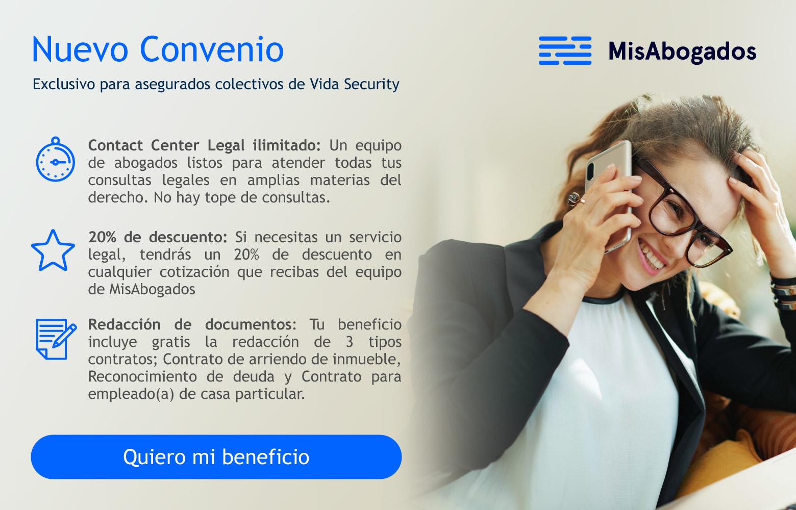 Nuevo Convenio MisAbogados, Exclusivo para asegurados colectivos de Vida Security